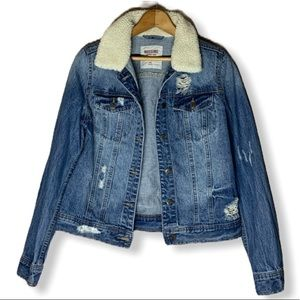 Mossimo Supply Co. Jackets & Coats - Distressed Jean jacket with faux shearling trim